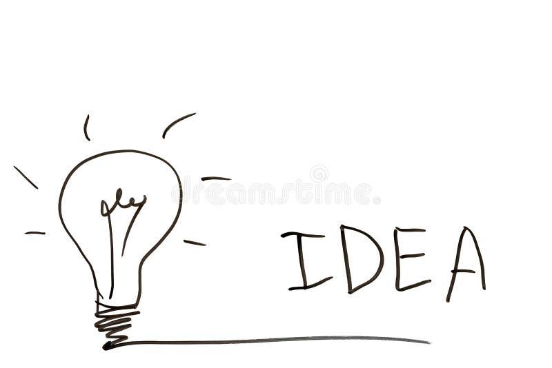 Glühlampe und die Wortidee auf einem weißen Brett lizenzfreies stockfoto