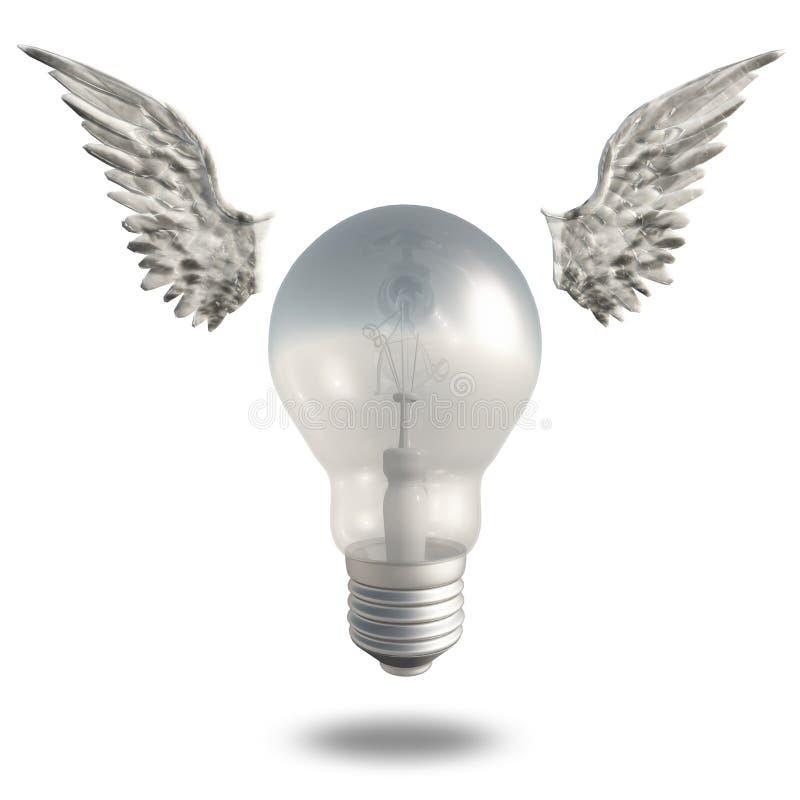 Glühlampe und Flügel vektor abbildung