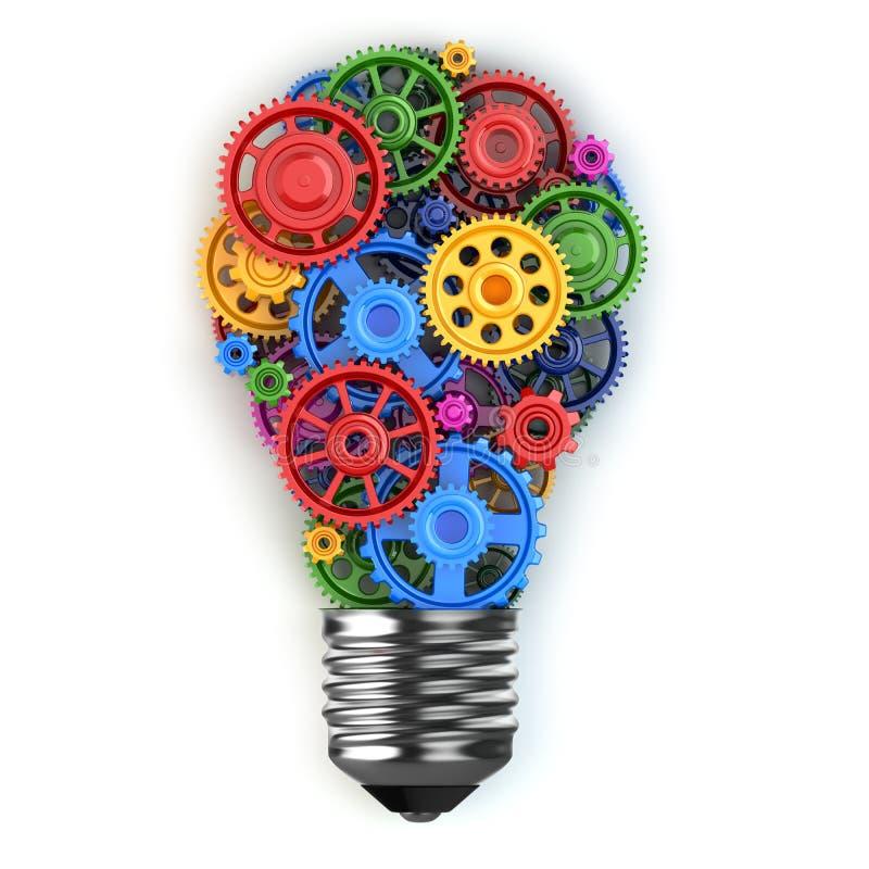 Glühlampe und Gänge Perpetuum mobile-Ideenkonzept stock abbildung
