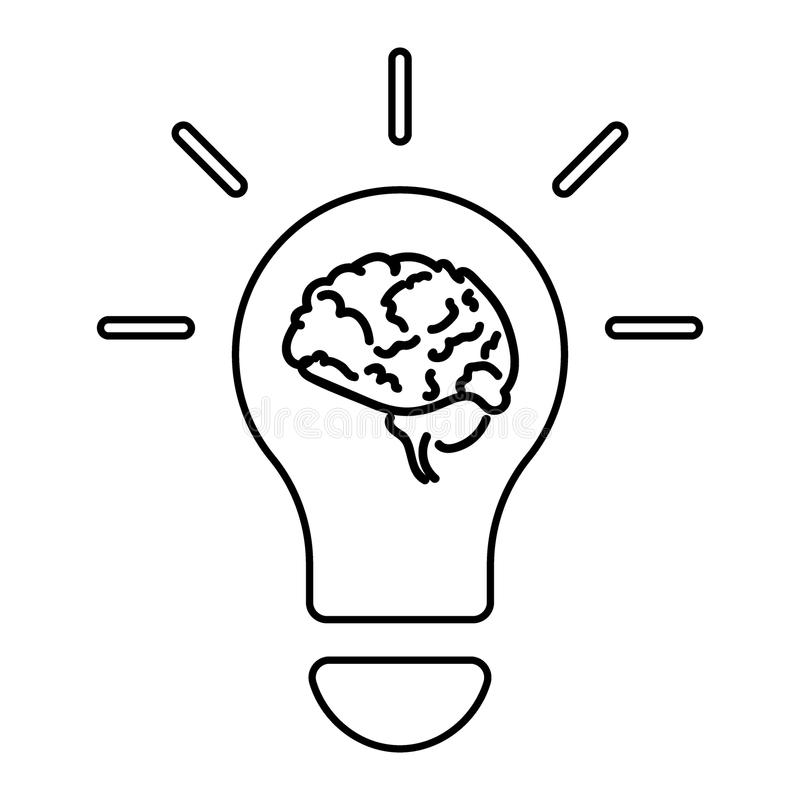 Glühlampe und Gehirn zeichnen Ikone, Entwurfsvektor lizenzfreie abbildung
