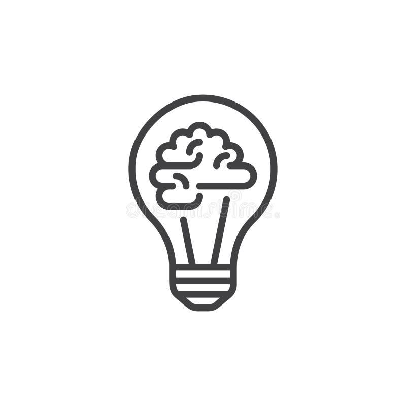 Glühlampe und Gehirn zeichnen Ikone, Entwurfsvektorzeichen, das lineare Artpiktogramm, das auf Weiß lokalisiert wird lizenzfreie abbildung