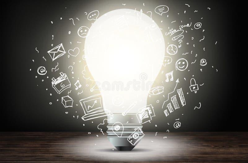 Glühlampe und Illustration lizenzfreie abbildung