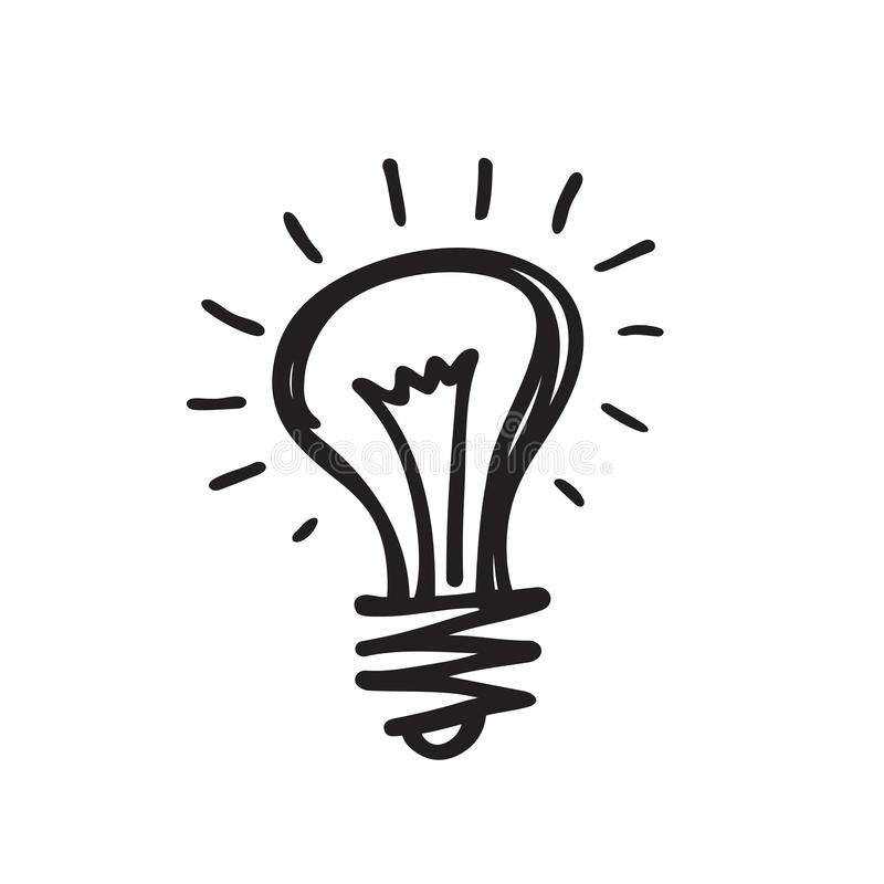 Glühlampe - vector Ikonenillustration in der Designart des Skizzenabgehobenen betrages Minimales Symbol der Lampe Kreative Ideenk lizenzfreie abbildung