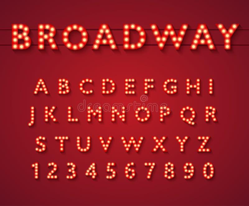 Glühlampealphabet in der Broadway-Theaterart lizenzfreie abbildung