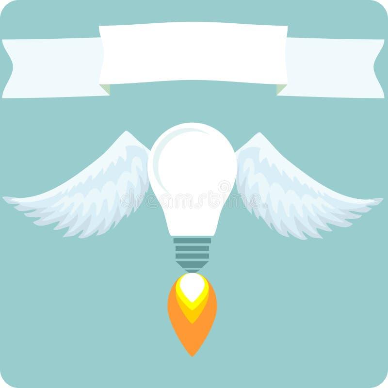 Glühlampeballon im Himmel mit Fahnenaufkleber Die goldene Taste oder Erreichen für den Himmel zum Eigenheimbesitze stock abbildung