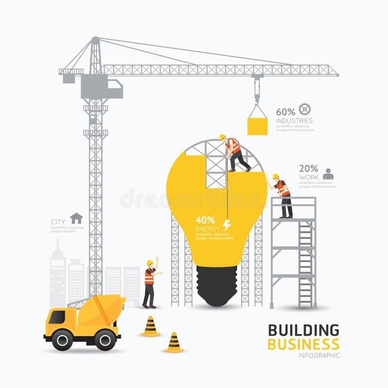 Glühlampeformschablonendesign Infographic-Geschäfts Gebäude vektor abbildung
