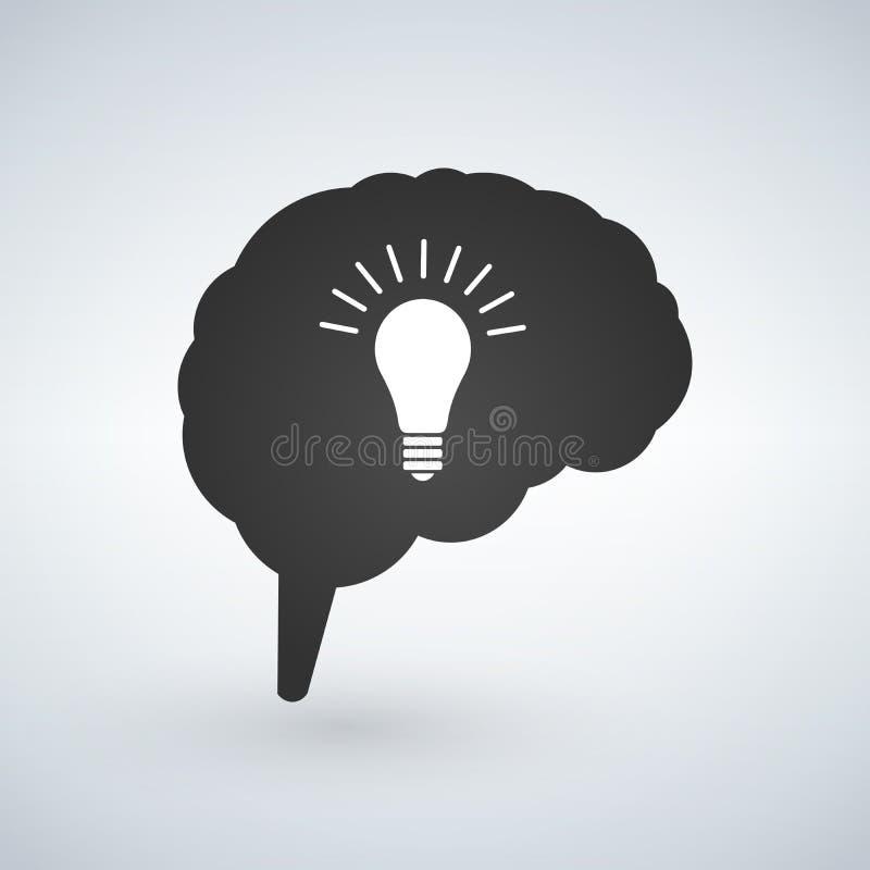 Glühlampeidee mit Gehirnvektor Kreative Glühlampeideengehirn-Vektorillustration lokalisiert auf weißem Hintergrund lizenzfreie abbildung