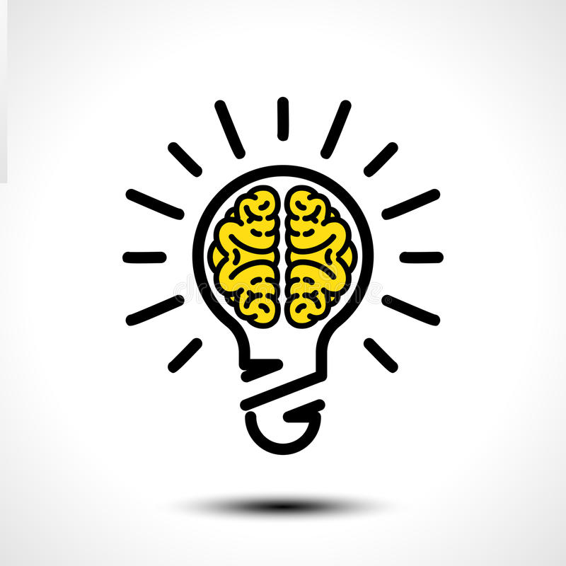 Glühlampeidee mit Gehirnvektor-Logoschablone Unternehmensikone wie Firmenzeichen stock abbildung