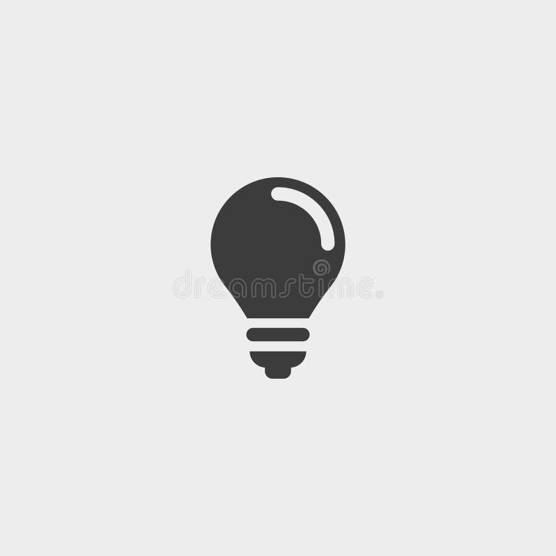 Glühlampeikone in einem flachen Design in der schwarzen Farbe Vektorabbildung EPS10 stock abbildung