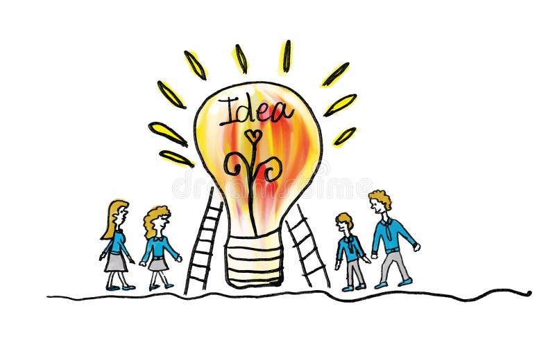Glühlampeikone mit Geschäftsmann- und Geschäftsfrauvektorillustration kreatives Ideenkonzept, Teamwork-Konzept, Gekritzelhand vektor abbildung