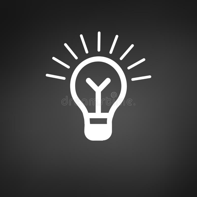 Glühlampeikone, Vektor lokalisiert auf weißem Hintergrund Ideenzeichen, Lösung, denkendes Konzept Beleuchten der elektrischen Lam vektor abbildung