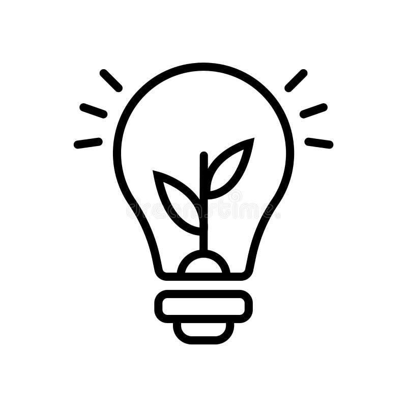 Glühlampeikonenvektor lokalisiert auf weißem Hintergrund, Glühlampezeichen, Linie oder linearem Zeichen, Elemententwurf in der En stock abbildung