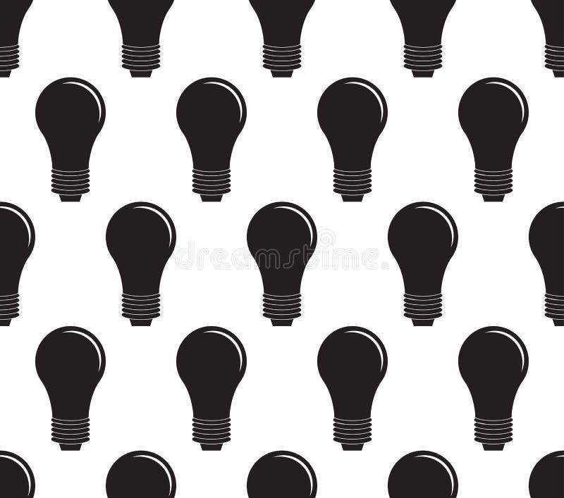Glühlampeikonenvektorillustration Flaches Zeichen nahtlos auf weißem Hintergrund lizenzfreie abbildung