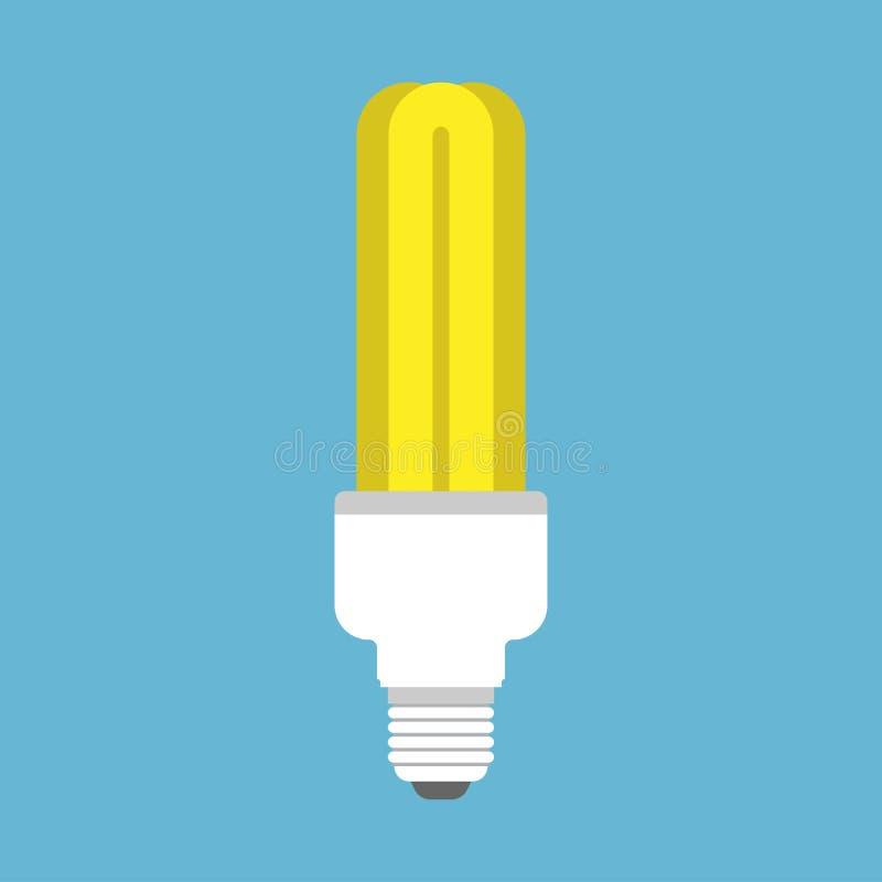 Glühlampelampenideendekorationsvektor-Ikonenkonzept Glühenenergie belichtete gelbes helles des kreativen Zeichens Technologieausr lizenzfreie abbildung