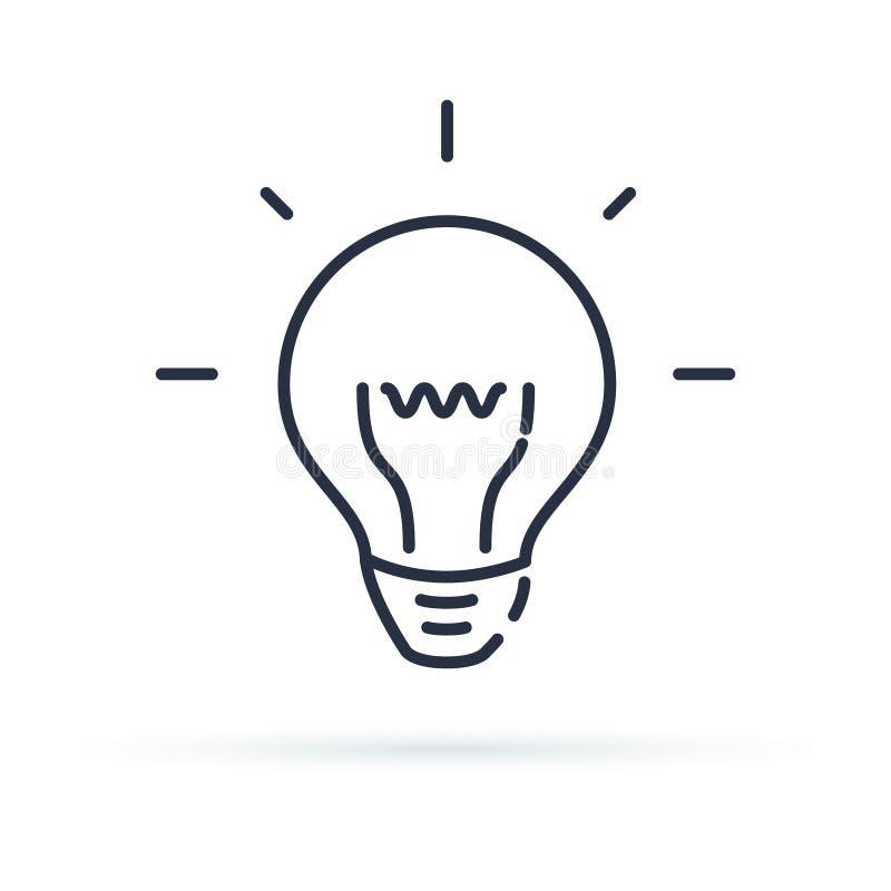 Glühlampelinie Ikone, Entwurfsvektorzeichen, lineares Artpiktogramm lokalisiert auf Weiß Ideensymbol, Logoillustration lizenzfreie abbildung