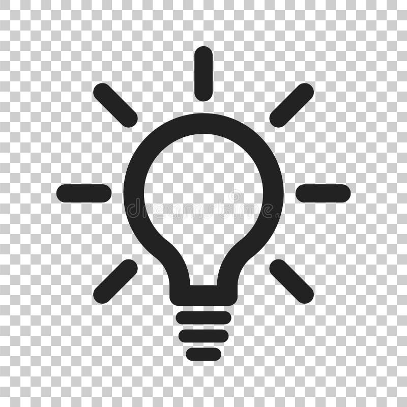 Glühlampelinie Ikonenvektor Elektrische Lampe in der flachen Art Idee s lizenzfreie abbildung
