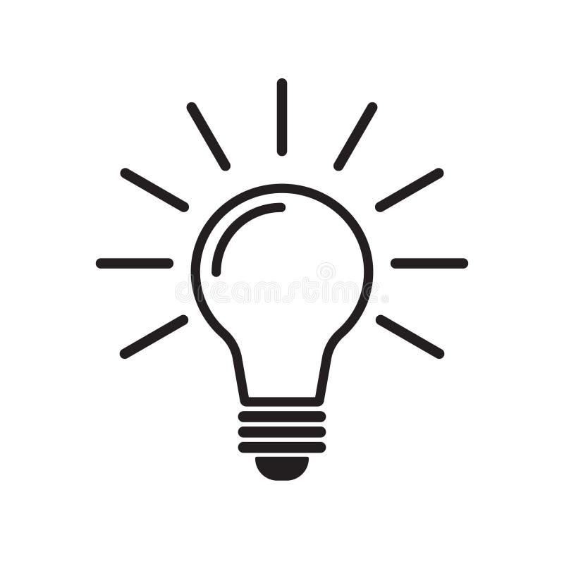 Glühlampelinie Ikonenvektor Ideenikone, Ideenzeichen, Lösung lizenzfreie abbildung