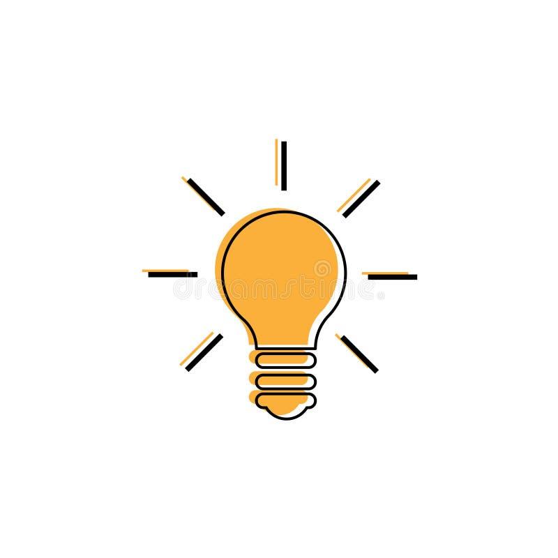 Glühlampelinie Ikonenvektor Ideenzeichen, Lösung, denkendes Konzept Beleuchten der elektrischen Lampe Strom, Glanz stock abbildung