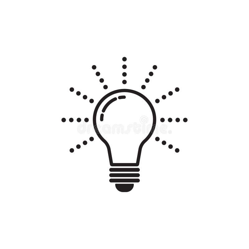 Glühlampelinie Ikonenvektor, lokalisiert auf weißem Hintergrund Ideenikone, Ideenzeichen, Lösung, denkendes Konzept lizenzfreie abbildung
