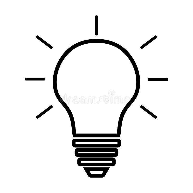 Glühlampelinie Ikonenvektor lokalisiert auf weißem Hintergrund Ideenzeichen, Lösung, denkendes Konzept Beleuchten der elektrische lizenzfreie abbildung