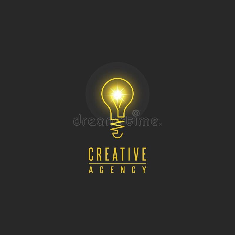 Glühlampelogo, kreatives Innovationszeichen des Lampenglanzes, Web-Entwicklung, Werbung, Entwurfsagenturemblem, Ideenenergietechn stock abbildung