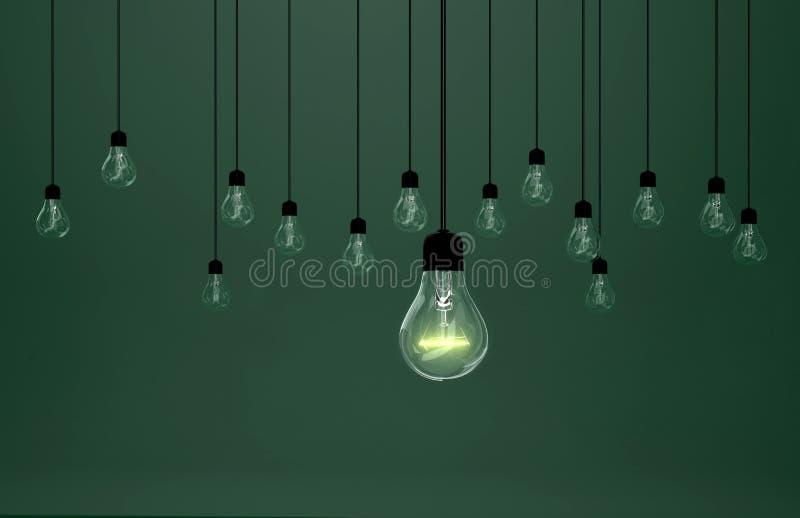 Glühlampen auf grünem Hintergrund, stockbilder
