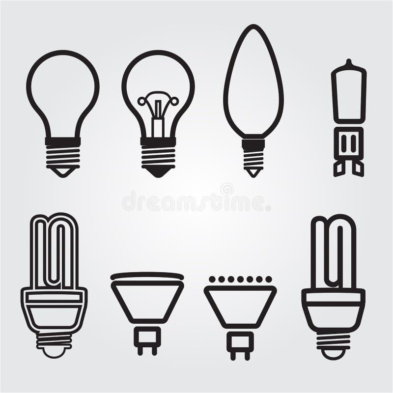 Glühlampen. Birnenikonensatz lizenzfreie stockbilder