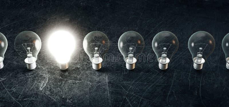 Glühlampen, das Konzept der Idee, genial, 3d übertragen Illustration stockfotografie