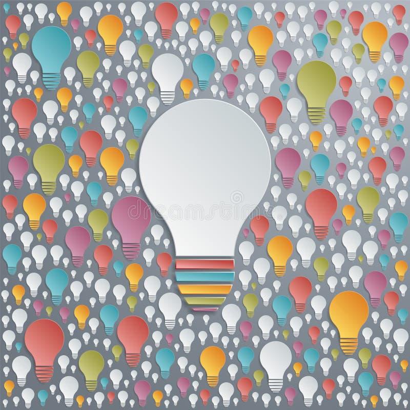 Glühlampen des Vektors Kreativitäts- und Zusammenarbeitskonzept vektor abbildung