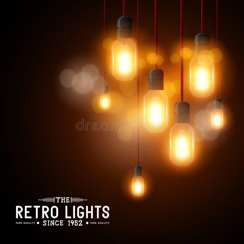 Glühlampen des Weinlese-Vektors lizenzfreie abbildung