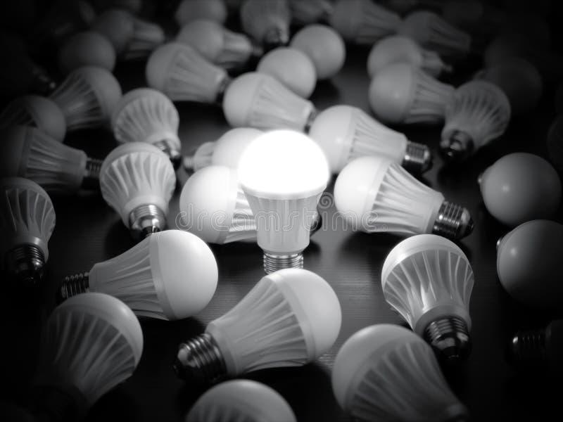 Glühlampen LED mit das Glühen lizenzfreie abbildung