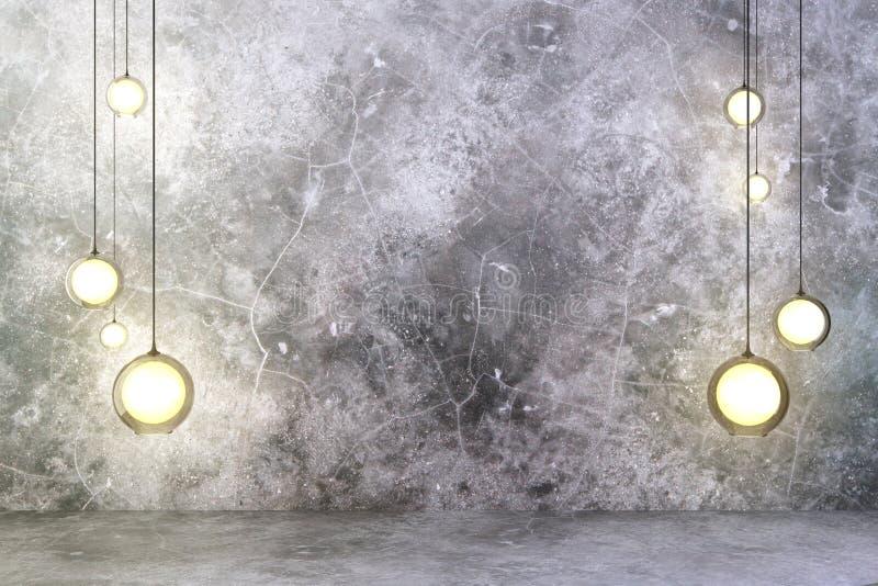 Glühlampen mit Betonmauer und Boden lizenzfreies stockbild