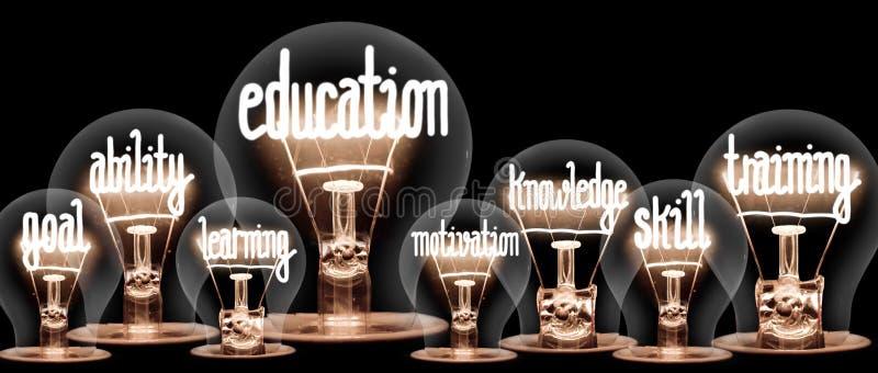 Glühlampen mit Erziehung und Ausbildungs-Konzept stockbild