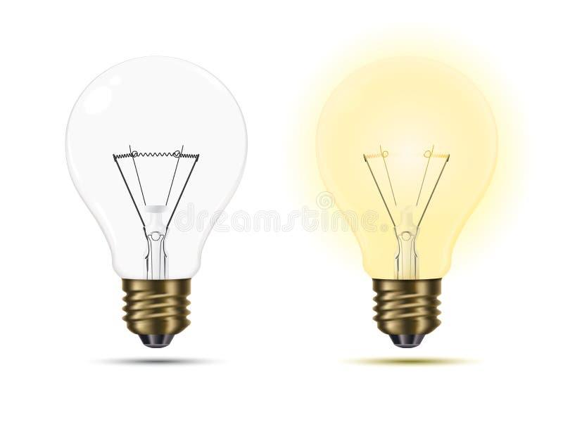 Glühlampen an und ausgeschaltet vektor abbildung