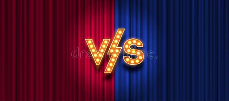 Glühlampenbuchstaben gegen Logo auf rotem und blauem Vorhanghintergrund GEGEN Logo für Spiele, Kampf, Leistung, Match, Sport stock abbildung