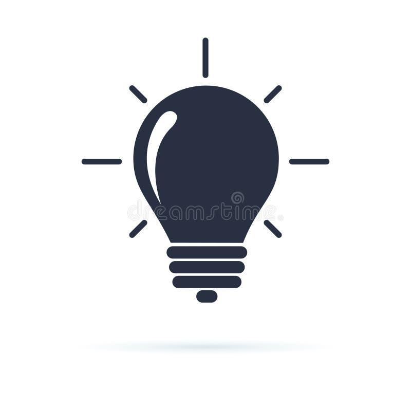 Glühlampenikone Glühlampeikone in einem flachen Entwurf in der schwarzen Farbe lokalisiert auf weißem Hintergrund Kreatives Ideen lizenzfreie abbildung