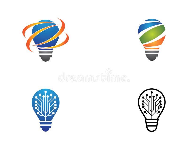 Glühlampenlogoschablonen-Vektorikone stock abbildung