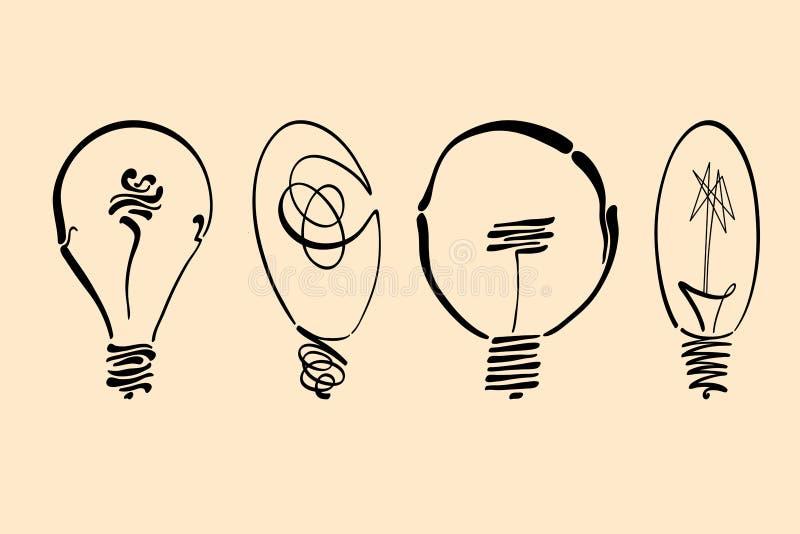 Glühlampevektorbild, Hand gezeichnetes gesetztes verwendbares der Glühlampe als Logo-, Ikonen-, clipart-, Symbol- oder Ideengesta stockbild