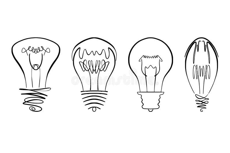 Glühlampevektorbild, Hand gezeichnetes gesetztes verwendbares der Glühlampe als Logo-, Ikonen-, clipart-, Symbol- oder Ideengesta lizenzfreie stockfotografie