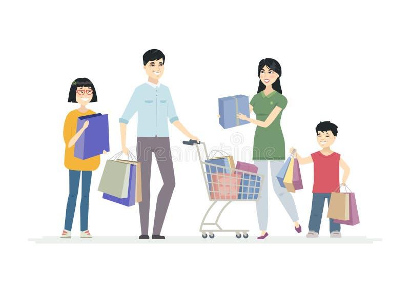 Gl?ckliche chinesische Familie, die das Einkaufen - Karikaturleute-Charakterillustration tut vektor abbildung