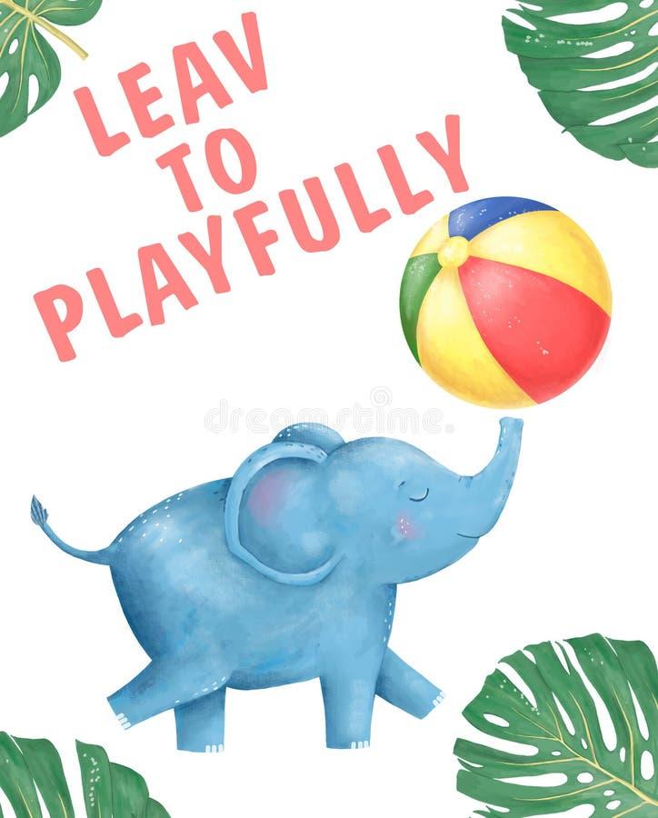 Gl?ckliche Gl?ckwunschkarte des guten Baby-Elefanten mit nettem Elefant-Aquarelltier Nette SCH?TZCHEN-Gru?karte Alles Gute zum Ge lizenzfreie abbildung