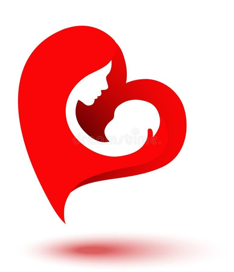 Gl?ckliche Eltern, die gute Zeit mit ihren kleinen Kindern haben Mutter und Baby in geformtem Logo des Herzens Mutter`s Tag Mamma stock abbildung