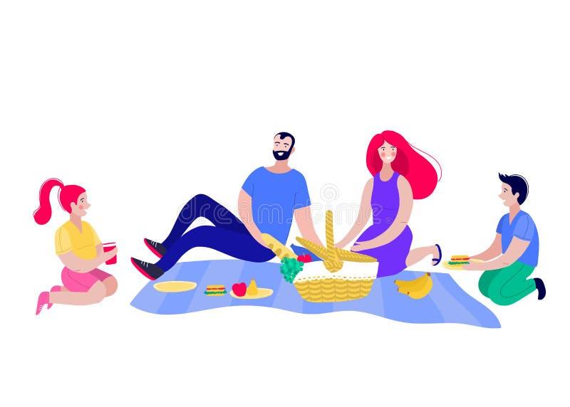 Gl?ckliche Familie auf einem Picknick Vati, Mutter, Sohn und Tochter stehen in der Natur still lizenzfreie abbildung