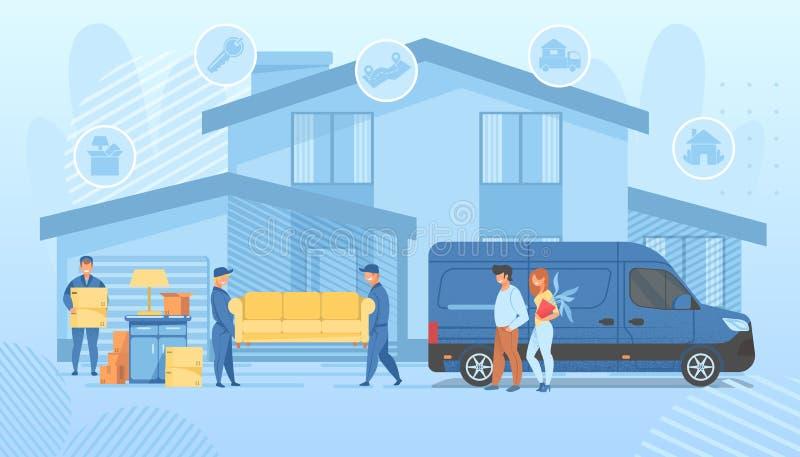 Gl?ckliche Familie, die in neues Haus sich bewegt Lader-Service lizenzfreie abbildung