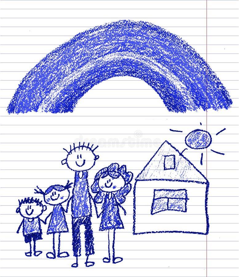 Gl?ckliche Familie mit kleinen Kindern Mutter und Vater mit Kindern Bruder und Schwester mit Eltern Meine Familie mit Haus und Re stockbild