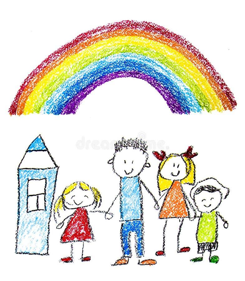 Gl?ckliche Familie mit kleinen Kindern Mutter und Vater mit Kindern Bruder und Schwester mit Eltern Meine Familie mit Haus und Re stockfotos