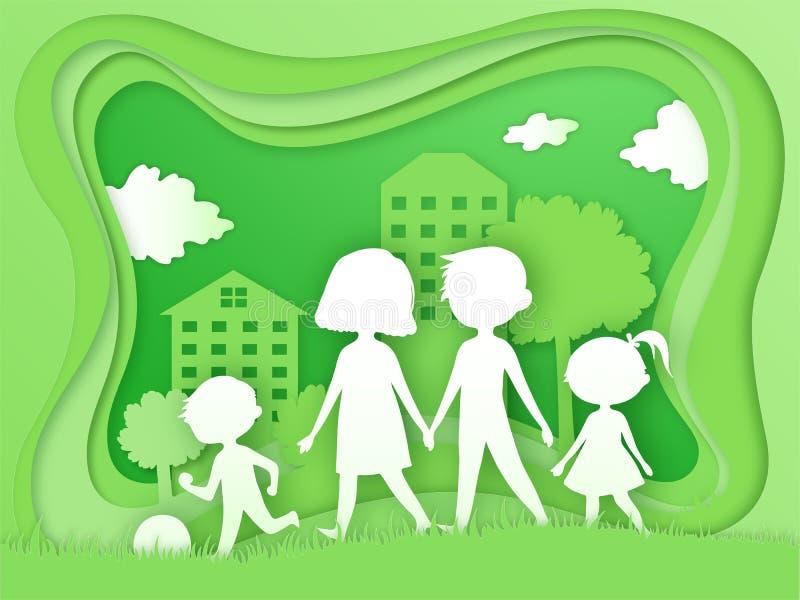 Gl?ckliche Familie mit kleinen Kindern Papierkunst und digitale Handwerksart Eco-Illustration, Ökologie, Gesundheit, Welt vektor abbildung