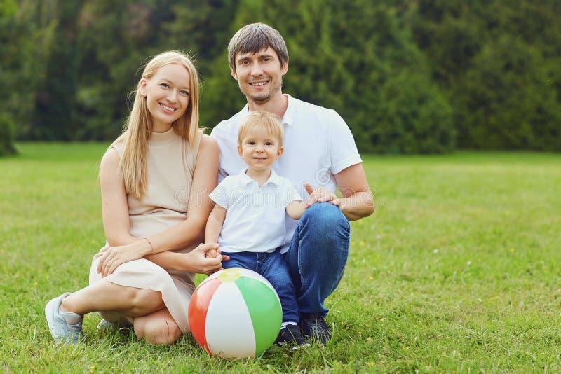 Gl?ckliche Familie zusammen im Sommerpark stockfotografie