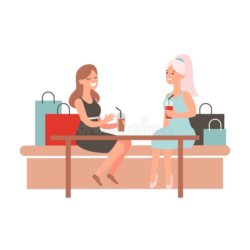 Gl?ckliche Freundinnen, die Gastronomiebereichk?ufe besprechen Frauen sitzen bei Tisch im Caf? und im Schw?tzchen Weibliche shopa lizenzfreie abbildung