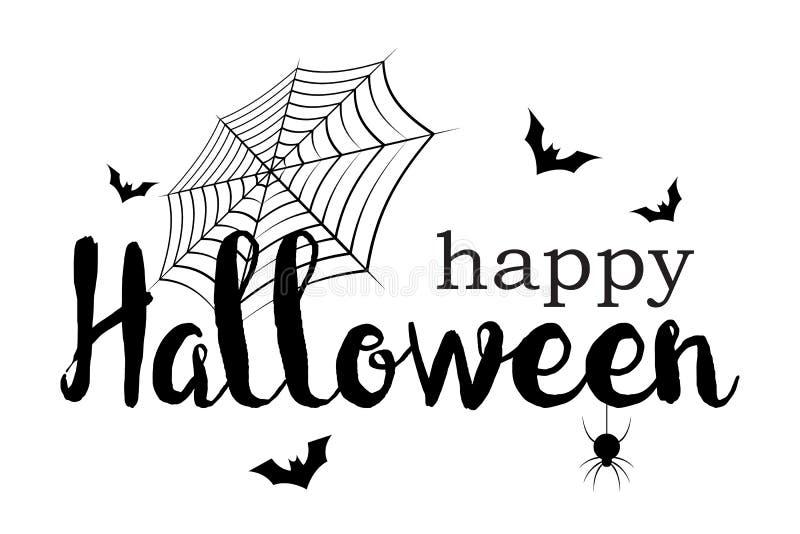 Gl?ckliche Halloween-Fahne Einladungsschreiben- und Mitteilungskonzept Feiertags- und Geistthema Auch im corel abgehobenen Betrag vektor abbildung